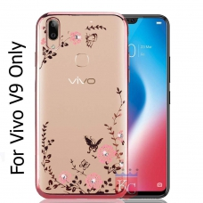 Auora Flower Case with Sparkle Crystals for Vivo V9 Back Cover Rose Gold